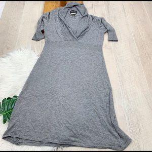Athleta Gray Knit Quarter Sleece Collar Dress 3292